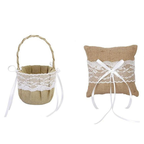 Jute Lace Flower Basket and Ring Bearer Pillow Set (2 Pieces) - Meraki Cole Company