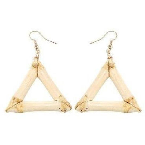 Natural Bamboo Geometric Earrings - Meraki Cole Company
