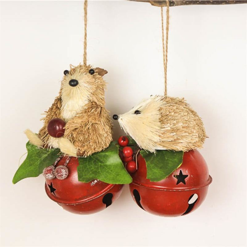 Straw Bear & Hedgehog Bell Ornaments - Meraki Cole Company