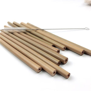 Natural Bamboo Reusable Drinking Straws (10 Piece Set) - Meraki Cole Company