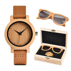 Women's Bamboo Wooden Watch & Sunglasses Set (2 Piece) - Color Grey - Meraki Cole Company