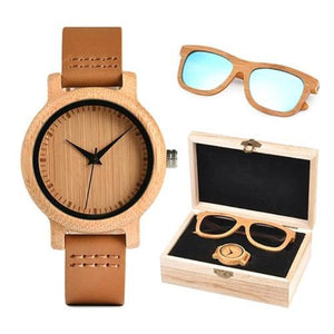 Women's Bamboo Wooden Watch & Sunglasses Set (2 Piece)