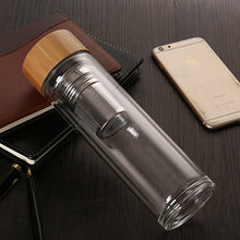 Load image into Gallery viewer, Reusable Glass Water Bottle with Tea Infuser Bamboo Lid - Meraki Cole Company