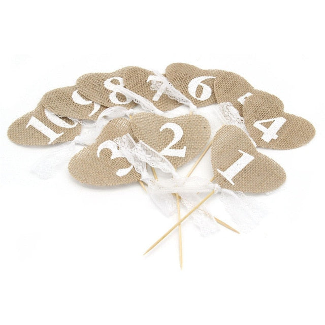 Jute Burlap Heart Shaped Banner Wedding Table Numbers (10 Pieces) - Meraki Cole Company