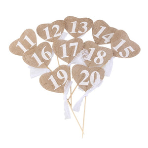 Jute Burlap Heart Shaped Banner Wedding Table Numbers (10 Pieces) - Numbers 11 - 20 - Meraki Cole Company