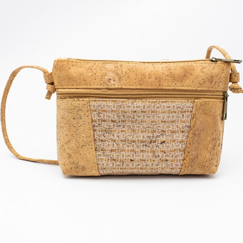 Cork Crossbody Bag with Neutral White Gauze Pattern - Meraki Cole Company