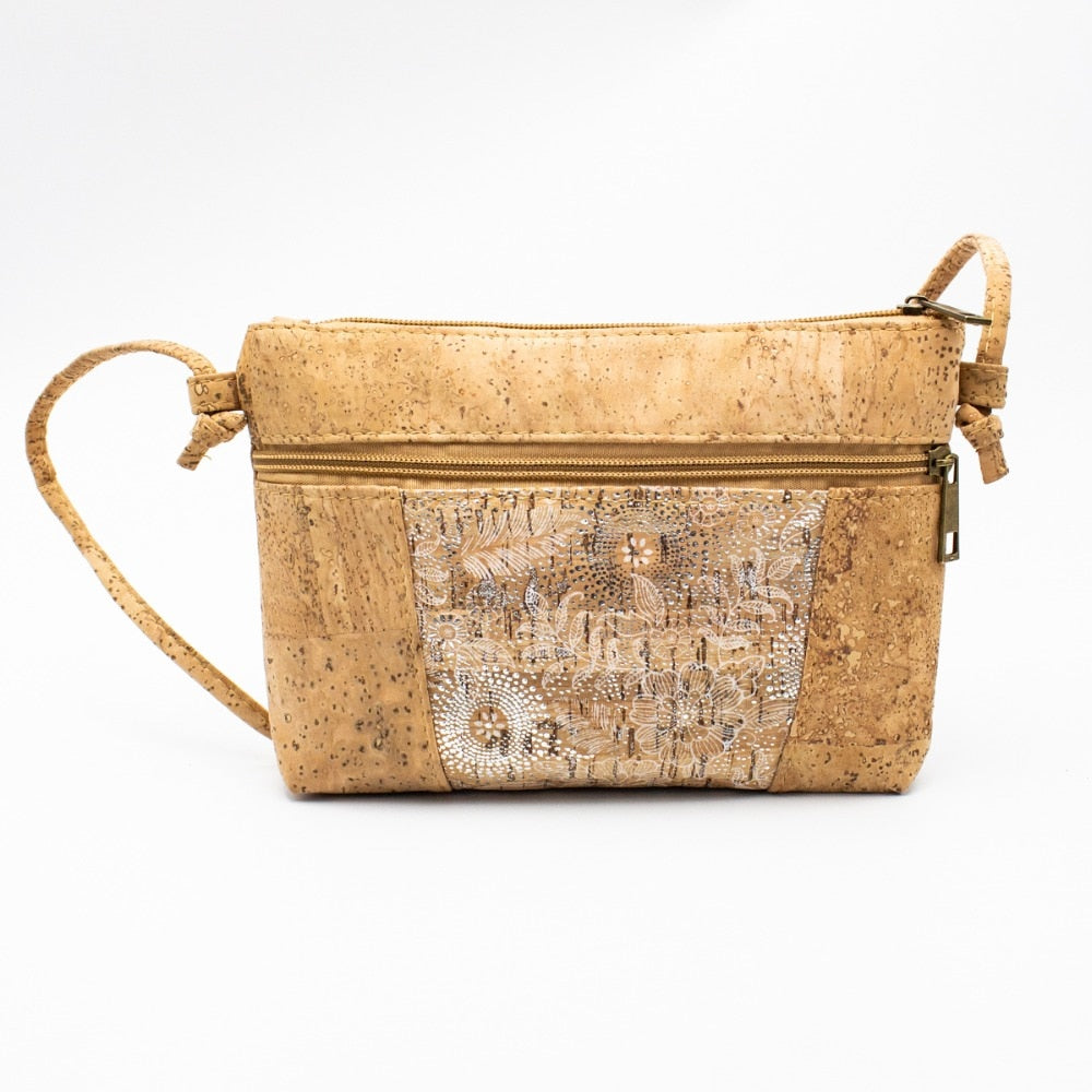 Cork Crossbody Bag with Neutral White Flower Pattern - Meraki Cole Company