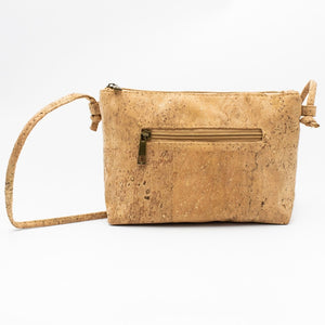 Cork Crossbody Bag with Neutral White Flower Pattern - Backside View - Meraki Cole Company