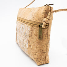 Load image into Gallery viewer, Cork Crossbody Bag with Neutral White Flower Pattern - Side View - Meraki Cole Company