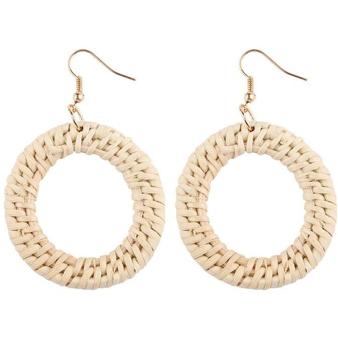 Bamboo Rattan Drop Earrings - Meraki Cole Company