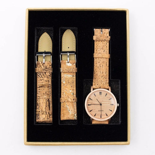Womens Watch with Interchangeable Cork Leather Bands - Meraki Cole Company