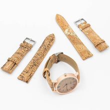 Load image into Gallery viewer, Womens Watch with Interchangeable Cork Leather Bands - Complete Set View - Meraki Cole Company