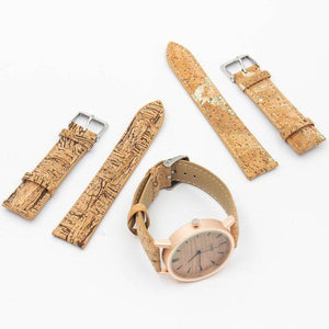 Womens Watch with Interchangeable Cork Leather Bands - Complete Set View - Meraki Cole Company