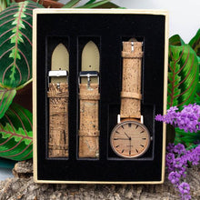 Load image into Gallery viewer, Womens Watch with Interchangeable Cork Leather Bands