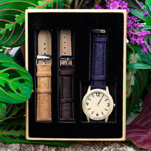 Mens Watch with Interchangeable Cork Leather Bands - Meraki Cole Company