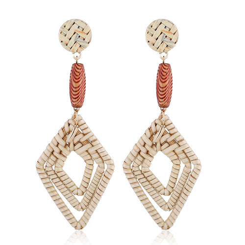 Bohemian Handmade Rattan Straw Woven Earrings - Meraki Cole Company
