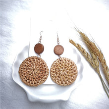 Load image into Gallery viewer, Straw Rattan Knit Geometric Earrings