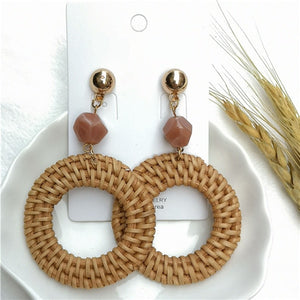 Straw Rattan Knit Geometric Earrings - Rattan Straw Natural Round Earrings - Meraki Cole Company