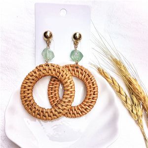 Straw Rattan Knit Geometric Earrings