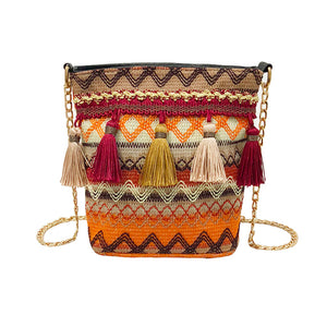 Colorful Straw Tassel Shoulder Bag - Meraki Cole Company