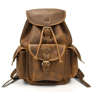Brown Leather Vintage Backpack - Light Brown - Meraki Cole Company