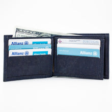 Load image into Gallery viewer, Blue Vegan Bifold Cork Wallet - Meraki Cole Company