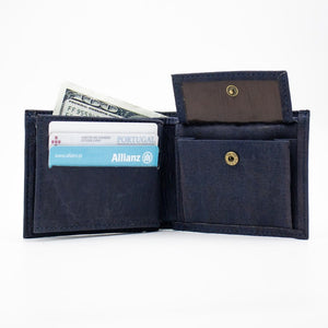 Blue Vegan Bifold Cork Wallet - Color Blue - Meraki Cole Company