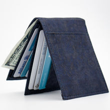 Load image into Gallery viewer, Blue Vegan Bifold Cork Wallet
