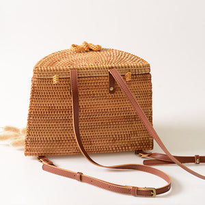 Handmade Woven Rattan Backpack - Color Neutral - Meraki Cole Company