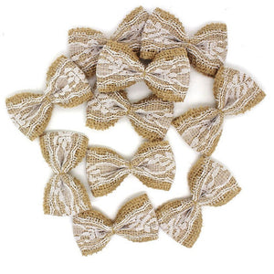 Natural Jute Burlap Lace Ribbon Bows (10 pieces) - Bow without Pearl - Meraki Cole Company