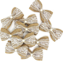 Load image into Gallery viewer, Natural Jute Burlap Lace Ribbon Bows (10 pieces) - Bow with Pearl - Meraki Cole Company