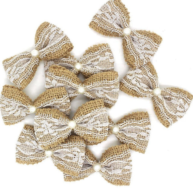 Natural Jute Burlap Lace Ribbon Bows (10 pieces) - Bow with Pearl - Meraki Cole Company