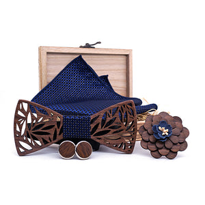 Wooden Bow Tie Gift Set (4 Piece) - Color Navy Blue - Meraki Cole Company