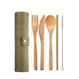 Reusable Bamboo Travel Utensil Set - 6 piece set with green case - Meraki Cole Company
