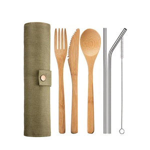 Reusable Bamboo Travel Utensil Set - 7 Pieces with Green Case - Meraki Cole Company