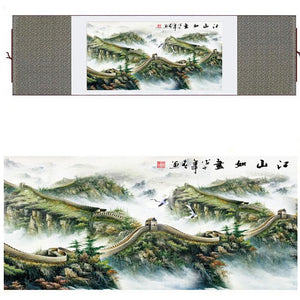 Great Wall of China Silk Art Painting - Green and Neutral Colors - Meraki Cole Company