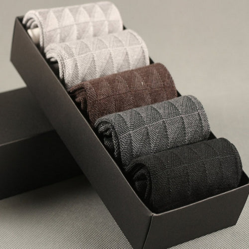 Mens Bamboo Fiber Dress Sock Set (5 Pairs) - Multicolored - Meraki Cole Company