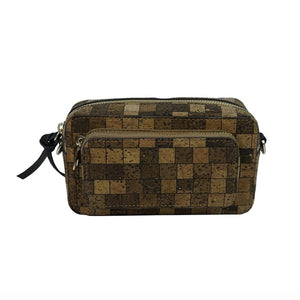 Luxury Vegan Square Pattern Cork Waist Pack - Front View - Meraki Cole Company