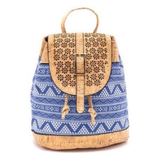 Load image into Gallery viewer, Cork Blue Casual Vegan Backpack - Texture Blue Pattern - Meraki Cole Company