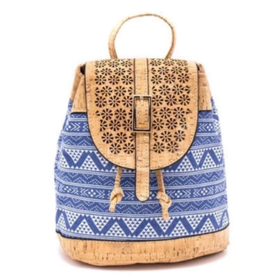 Cork Blue Casual Vegan Backpack - Texture Blue Pattern - Meraki Cole Company