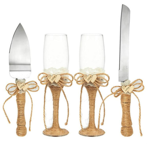 Jute Wedding Serving Set (4 Pieces) - Meraki Cole Company