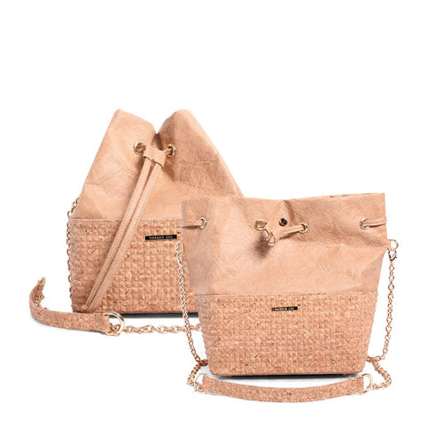 Womens Cork Messenger Handbag - Color Neutral - Meraki Cole Company