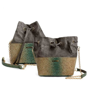 Womens Cork Messenger Handbag - Color Green - Meraki Cole Company