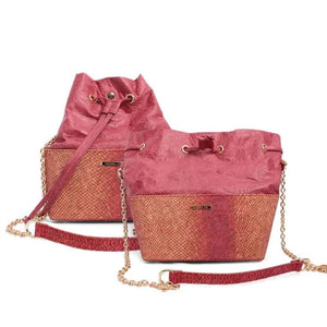 Womens Cork Messenger Handbag - Color Red - Meraki Cole Company