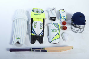 ND COUNTY Cricket Kit 10pc Set Bat Ball Pad Leg Guard Glove BAT Boys Youths Mens