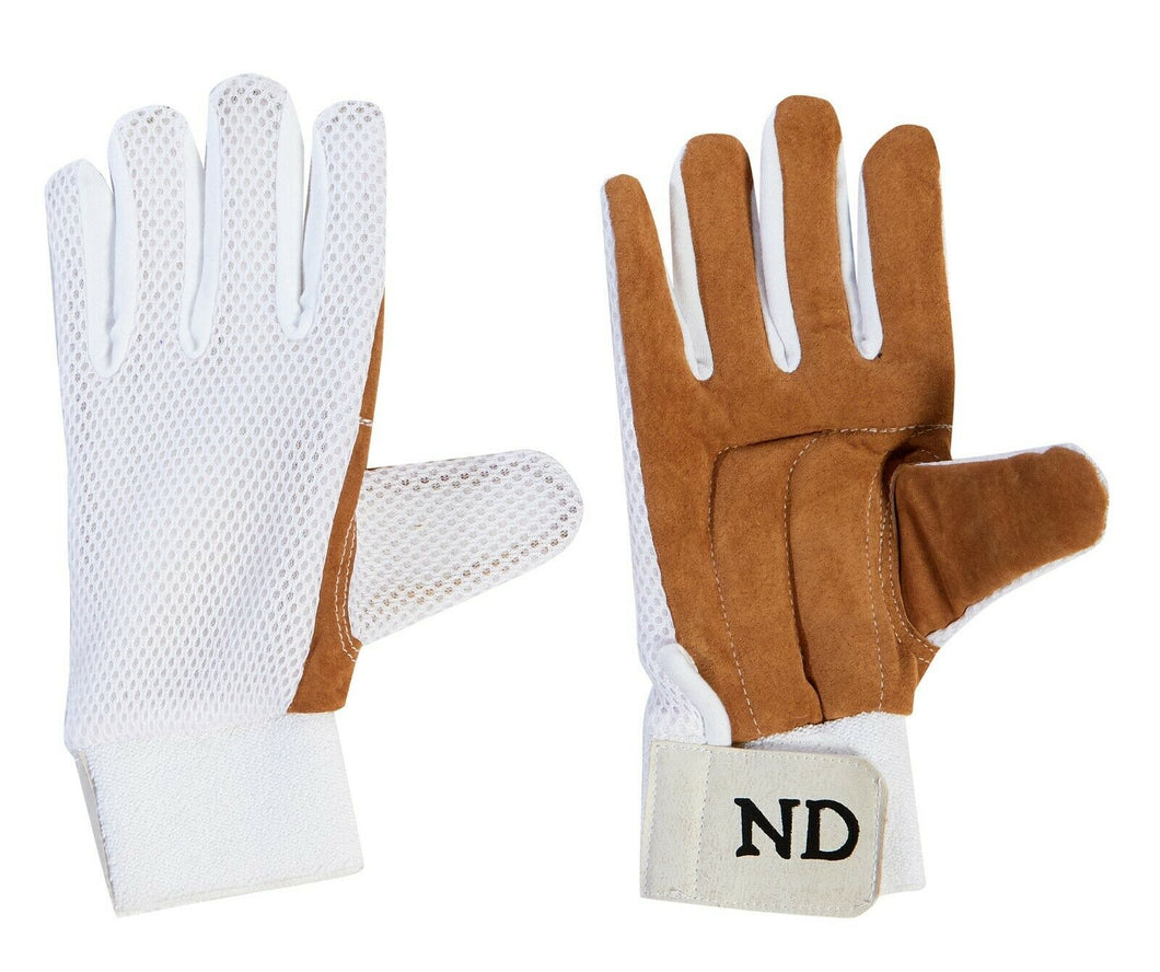 ND Cricket Wicket Keeping Chamois Full Finger Inner Gloves Premium Quality Mens