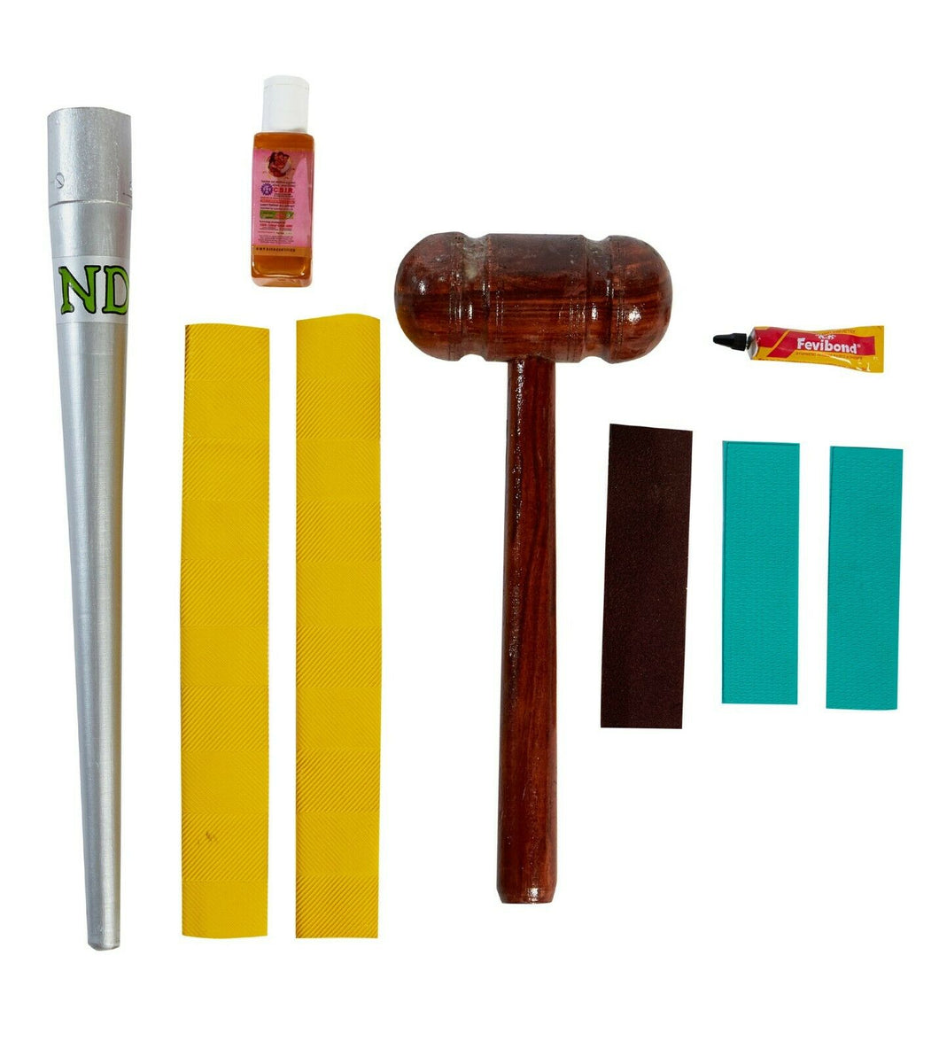 ND Cricket Bat Repair Kit Toe Guard Glue Sand Paper Oil Bat Grip Cone Mallet