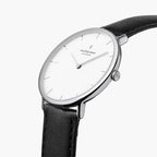 Native Bundle White Dial Silver 5 Link Black Leather Watch Strap