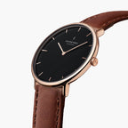 Native Bundle Black Dial Rose Gold 5 Link Black Leather Brown Leather Watch Strap