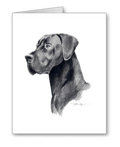 Black Great Dane Watercolor Art by Artist DJ Rogers